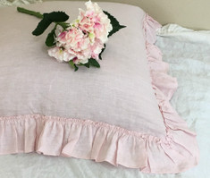 Blush Pink Linen Euro Sham with Country Ruffles