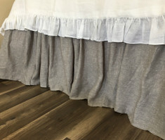Chambray Graphite Grey Linen Bed Skirt with Gathered Ruffle