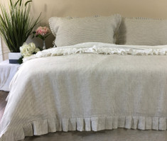 Linen Ticking Striped Duvet Cover with Pleated Ruffles all the way around