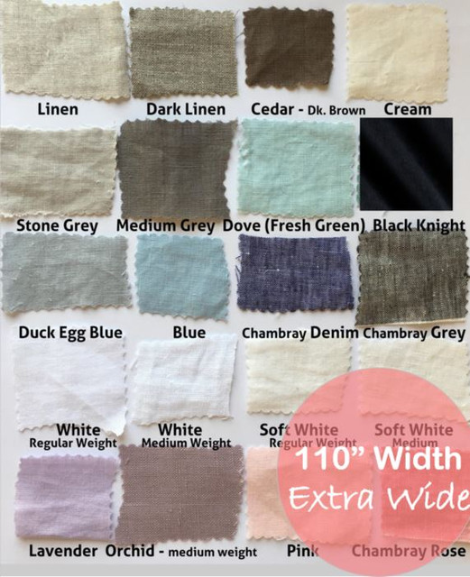 """Linen fabric by the yard, 110"""" wide"""