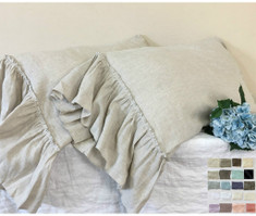 Pillow cases with country mermaid long ruffles, natural linen, 40 colors