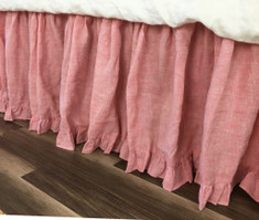 Chambray Rose Bed Skirt with Ruffle Hem