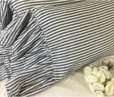 Dark Navy and White Striped Pillow Cases with Mermaid Long Ruffles