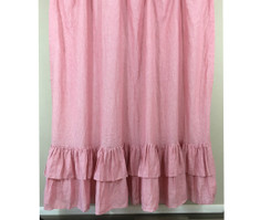 Chambray Rose Shower Curtain with Two Tiered Ruffles, natural linen