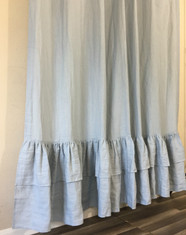 Duck Egg Blue Linen Curtain with 2-Tiered Mermaid Ruffles, the glamour of mermaid ruffles.