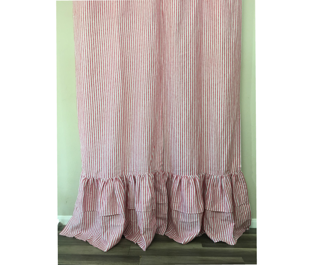 pink and white striped shower curtain. Red and White Striped Shower Curtain with 2 Tiered Mermaid Long Ruffles  Eye Feast