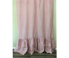 Red and White Striped Shower Curtain with 2-Tiered Mermaid Long Ruffles, Eye Feast! Natural Linen