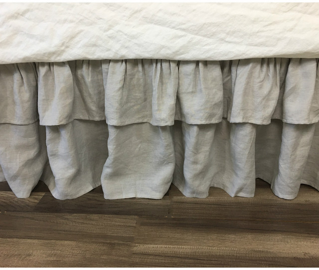 Stone Grey Bed Skirt with 2 tiered Ruffles, Natural Linen Dust Ruffle, available in all sizes and custom size