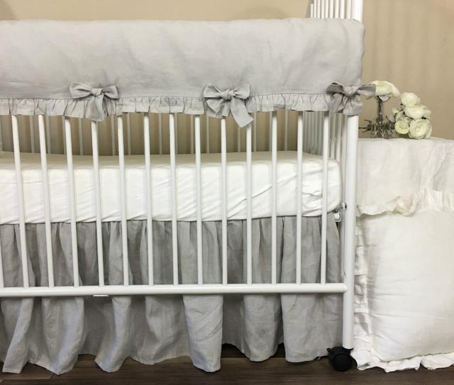 Stone Gray Rail Guard Ruffles, Natural Linen, Modern glamour Crib Bedding