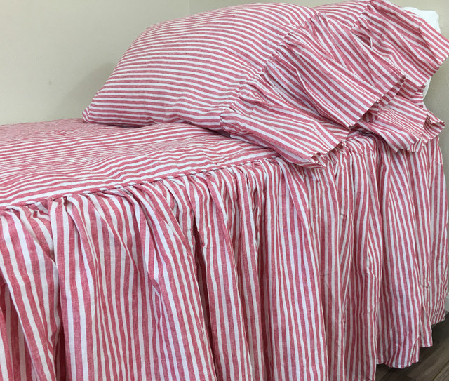 Red and White Striped Bedspread, Linen Bed Cover, Farmhouse Style