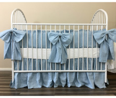Blue Baby Bedding with Large Bow Ties, Eye Feast!