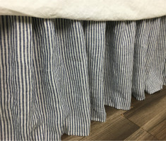 linen striped bed skirt dust ruffle, navy and white