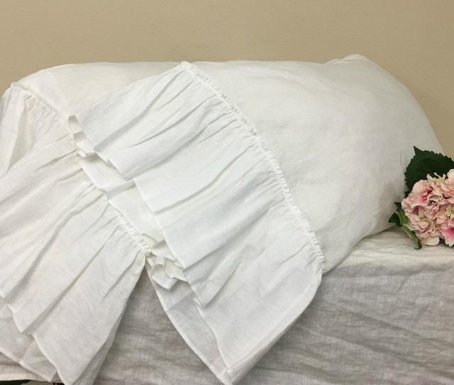 White Pillow Cases with Country Mermaid Long Ruffles natural linen