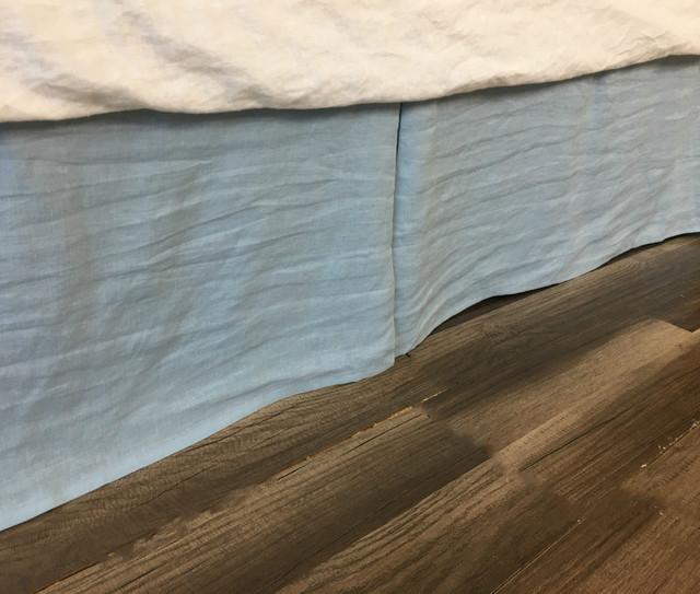 Blue Bed Skirt Tailored Pleats, Natural Linen