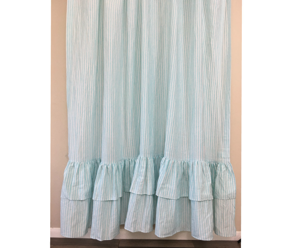 Green And White Striped Shower Curtain With Two Tiered Ruffles, Linen Striped  Shower Curtain