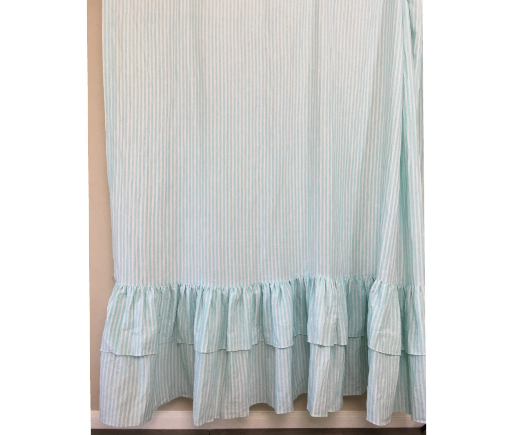 gray and white striped shower curtain.  Linen Striped Shower Curtain Image 2 3 Green and White with Two Tiered Ruffles