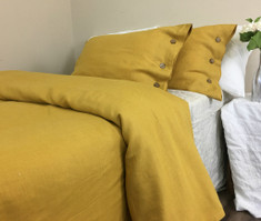 Mustard Linen Duvet Cover with Wooden Button Closure