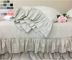 Natural Linen Duvet Cover with Country Mermaid Long Ruffles