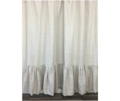 Natural Linen Shower Curtain with Mermaid Long Ruffles, Medium Weight Fabric