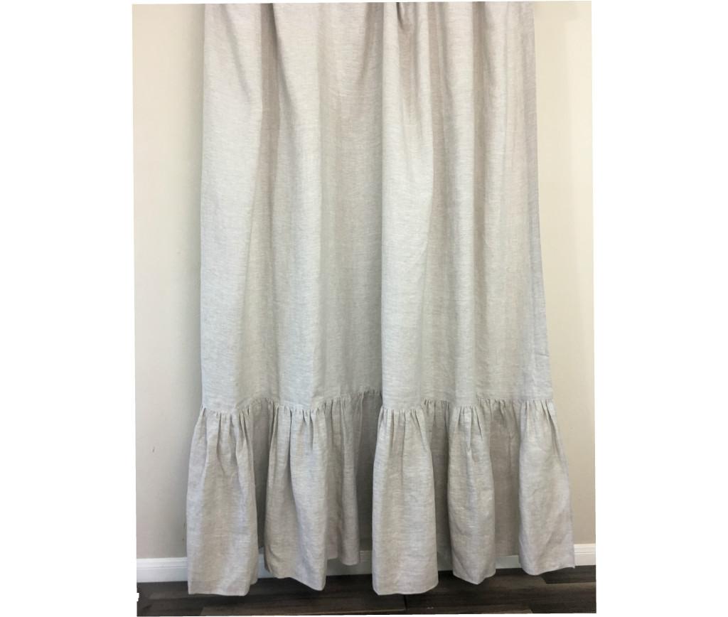 Natural Linen Shower Curtain with Mermaid Long Ruffles, Medium ...