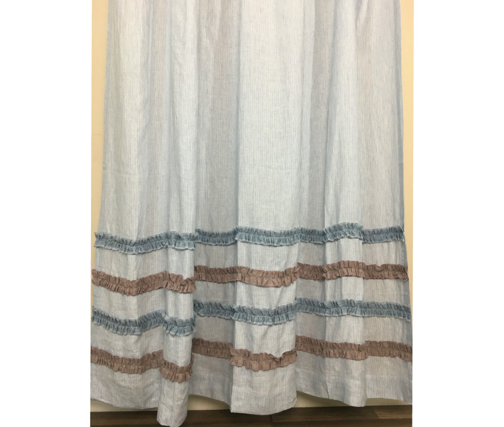 Blue and White Ticking Stripe Shower Curtain with Chambray Surf ...