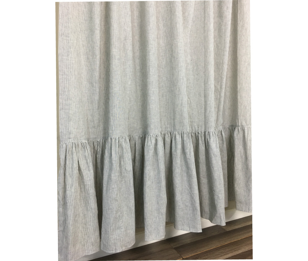 Black and white ticking striped shower curtain with mermaid long ...