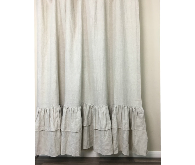 Natural Linen Shower Curtains with Two Tiered Mermaid Long Ruffles, Medium Weight Linen