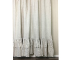 Natural Linen Curtains with Two Tiered of Mermaid Long Ruffles, Medium Weight Linen