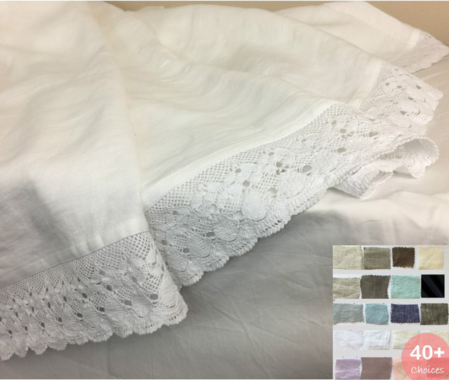 Natural Linen Bed Sheets with Crochet Lace Trim, 40+ Linen Fabric Choices