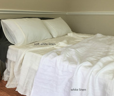 Soft White Linen Sheets Set - Medium Weight Linen