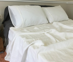 WHITE Linen Sheets Set