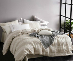 Natural Linen Striped Duvet Cover