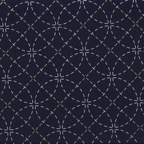 Stencilled Sashiko Fabric Interlocking Circles Black