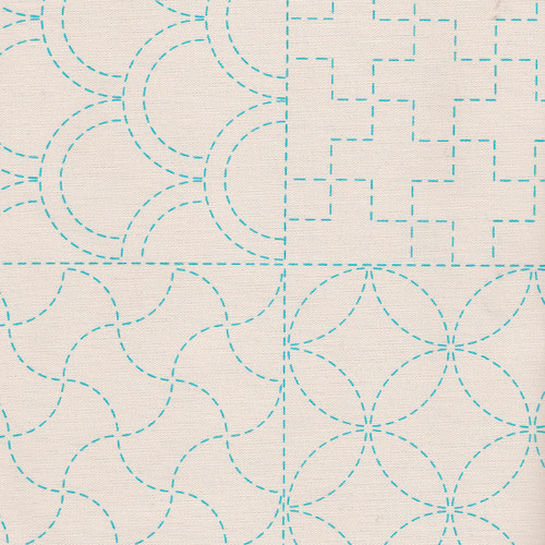 Stencilled Sashiko Sampler Panel Ecru