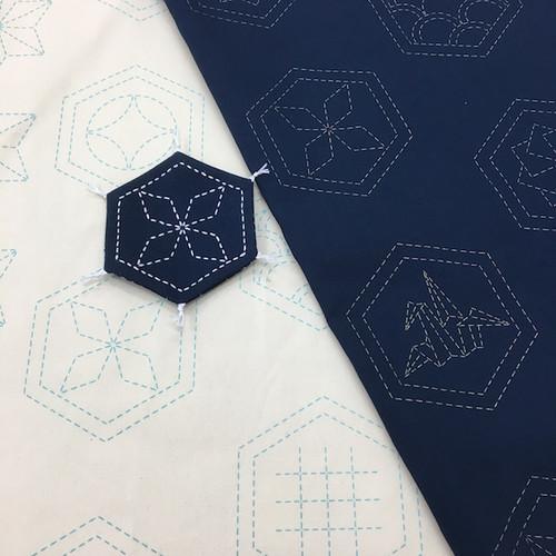 Many Patterns Stencilled Sashiko Fabric Ecru