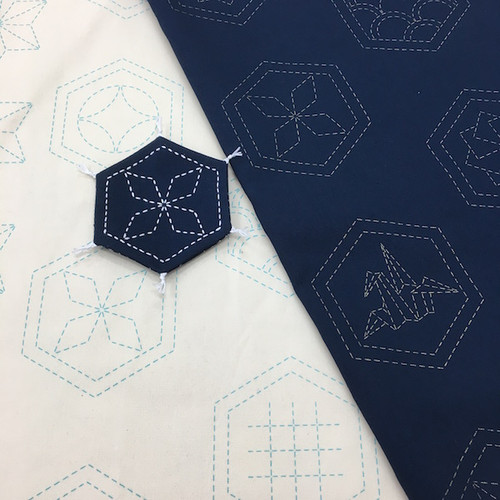 Many Patterns Stencilled Sashiko Fabric Navy Blue