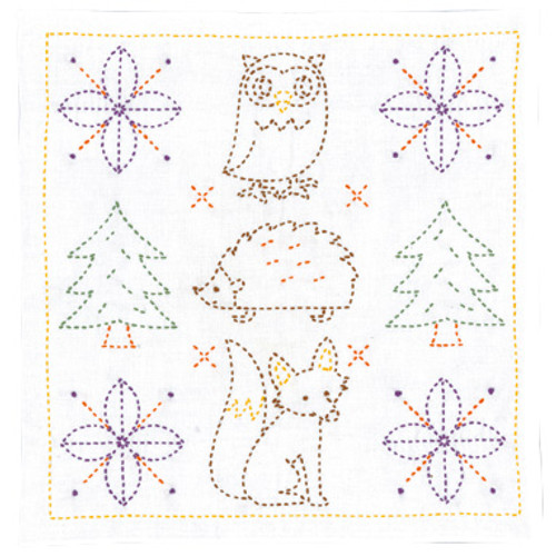 Sweet Animals and Christmas Trees Sashiko Kit