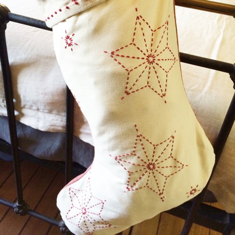 Sashiko Christmas Stocking Top Kit