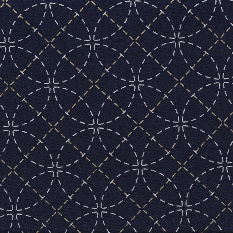 Stencilled Sashiko Fabric Interlocking Circles Black