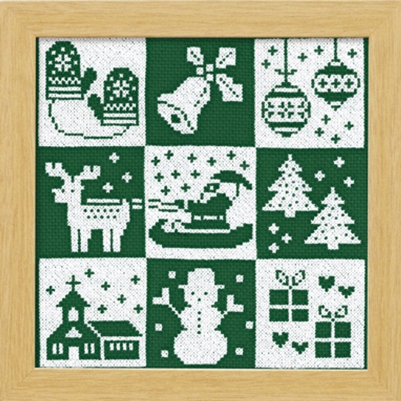 Green Festive Christmas Cross-stitch