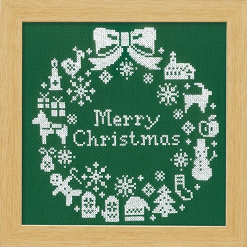 Green Christmas Wreath Cross-stitch