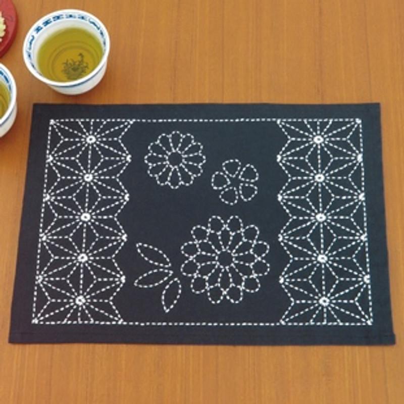 Sashiko Place Mat Kit - Asanoha & Chrysanthemum