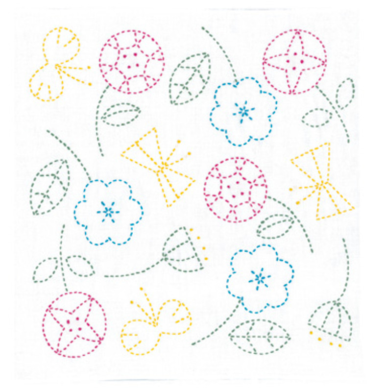 Happy Flowers & Butterflies Sashiko Kit