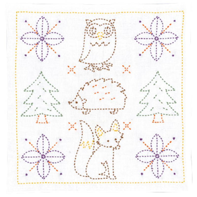 Sweet Animals and Christmas Trees Sashiko Kit