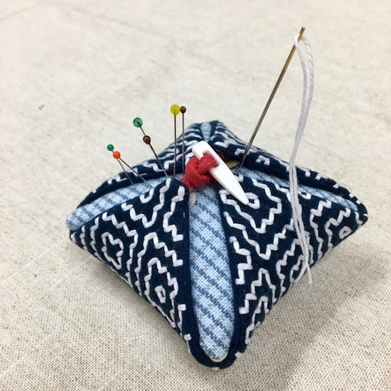 The Persimmon Flower Pincushion Hitomezashi (One Stitch) Kit