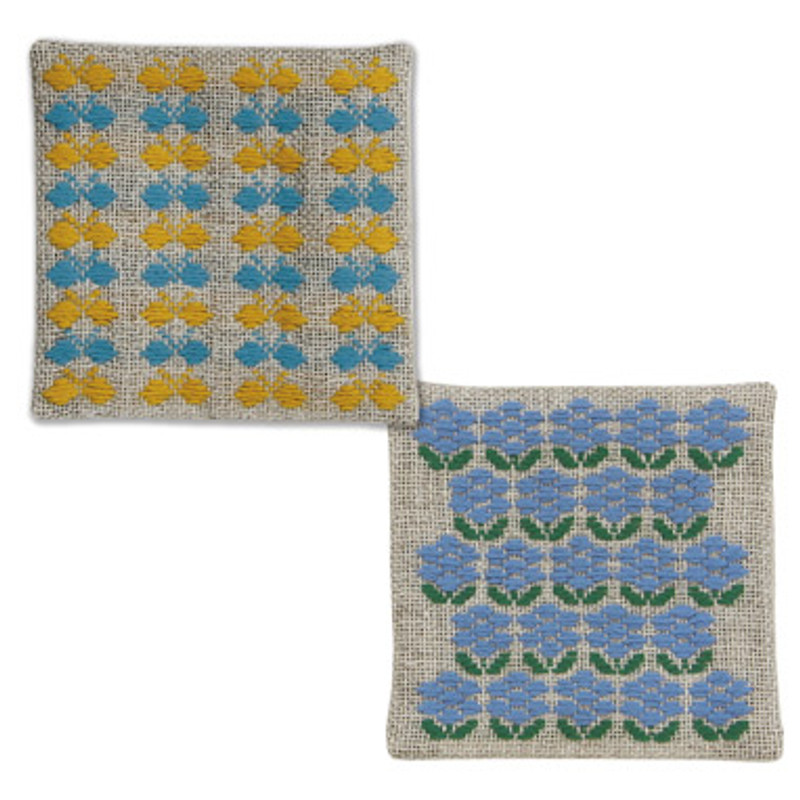 Kogin Kit 2 Coasters Yellow/Blue