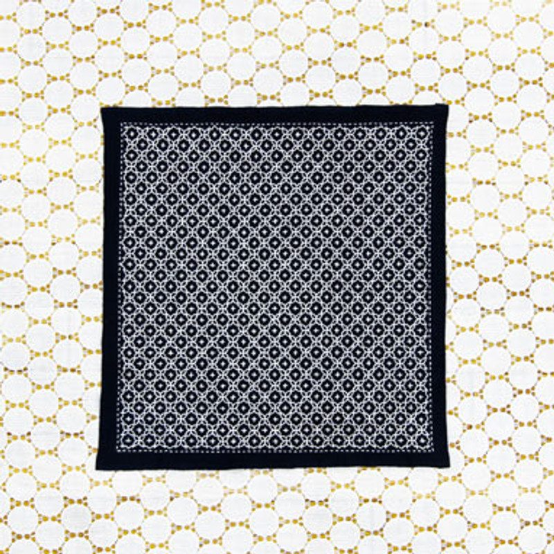 One Stitch Sashiko Sampler Kit Linked Crosses Navy