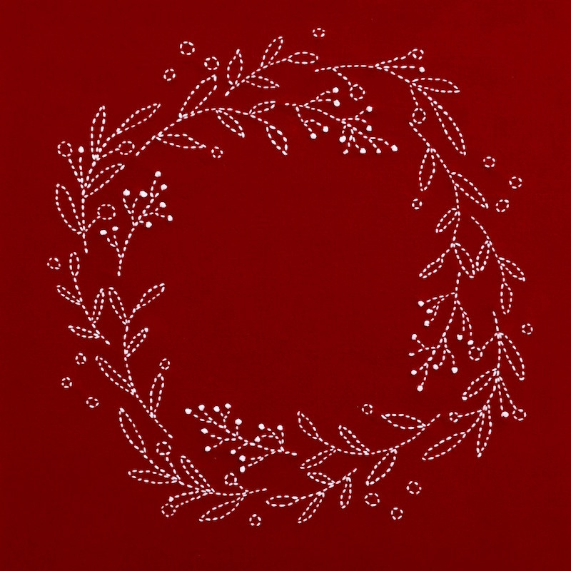 Sashiko Christmas Wreath Pattern