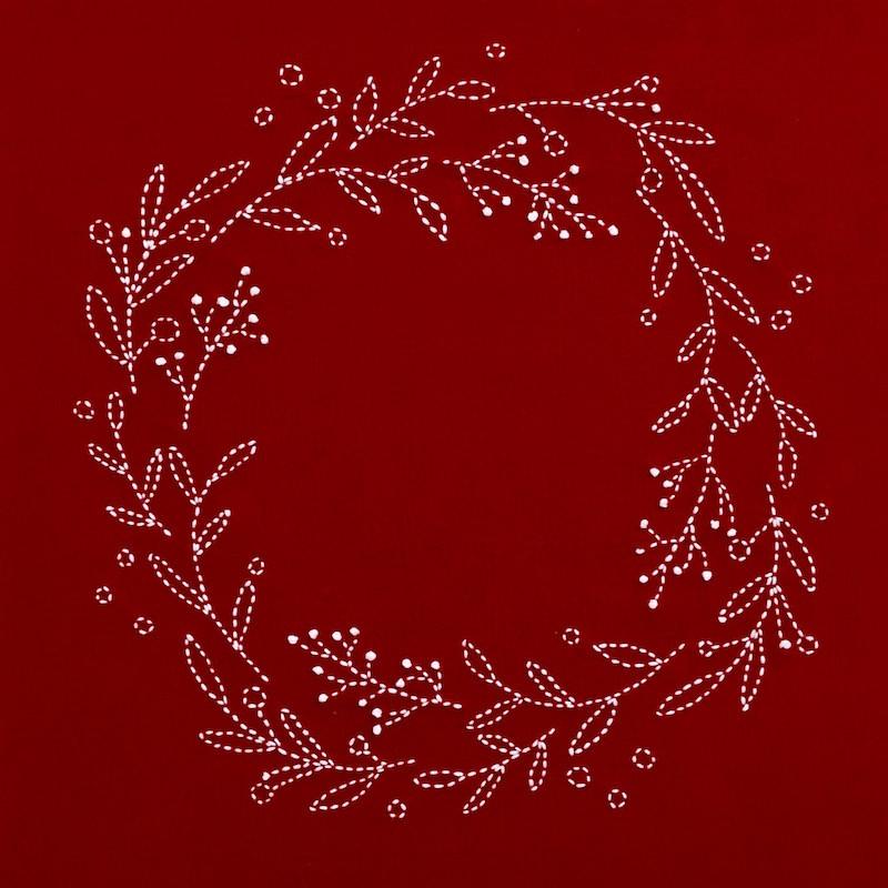 Sashiko Christmas Wreath Traditional Red Kit