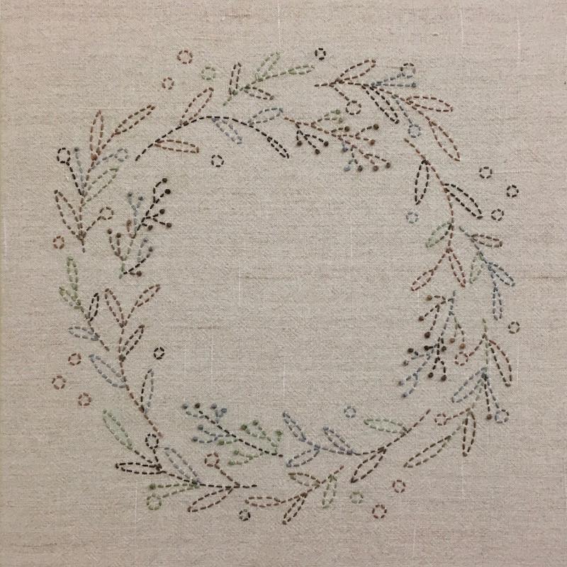 Sashiko Australian Bush Colours Wreath Kit